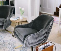 Dark Grey Reading Velvet Chair