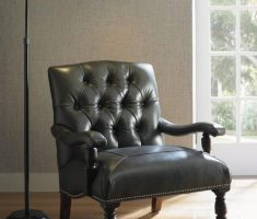 Elegant Black Tufted Leather Corner Reading Chair