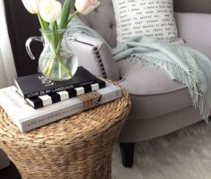 LIght Grey Tufted Corner Reading Chair with Small Rattan Table
