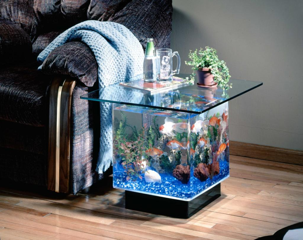 Creative coffee table aquarium for Small glass fish tank