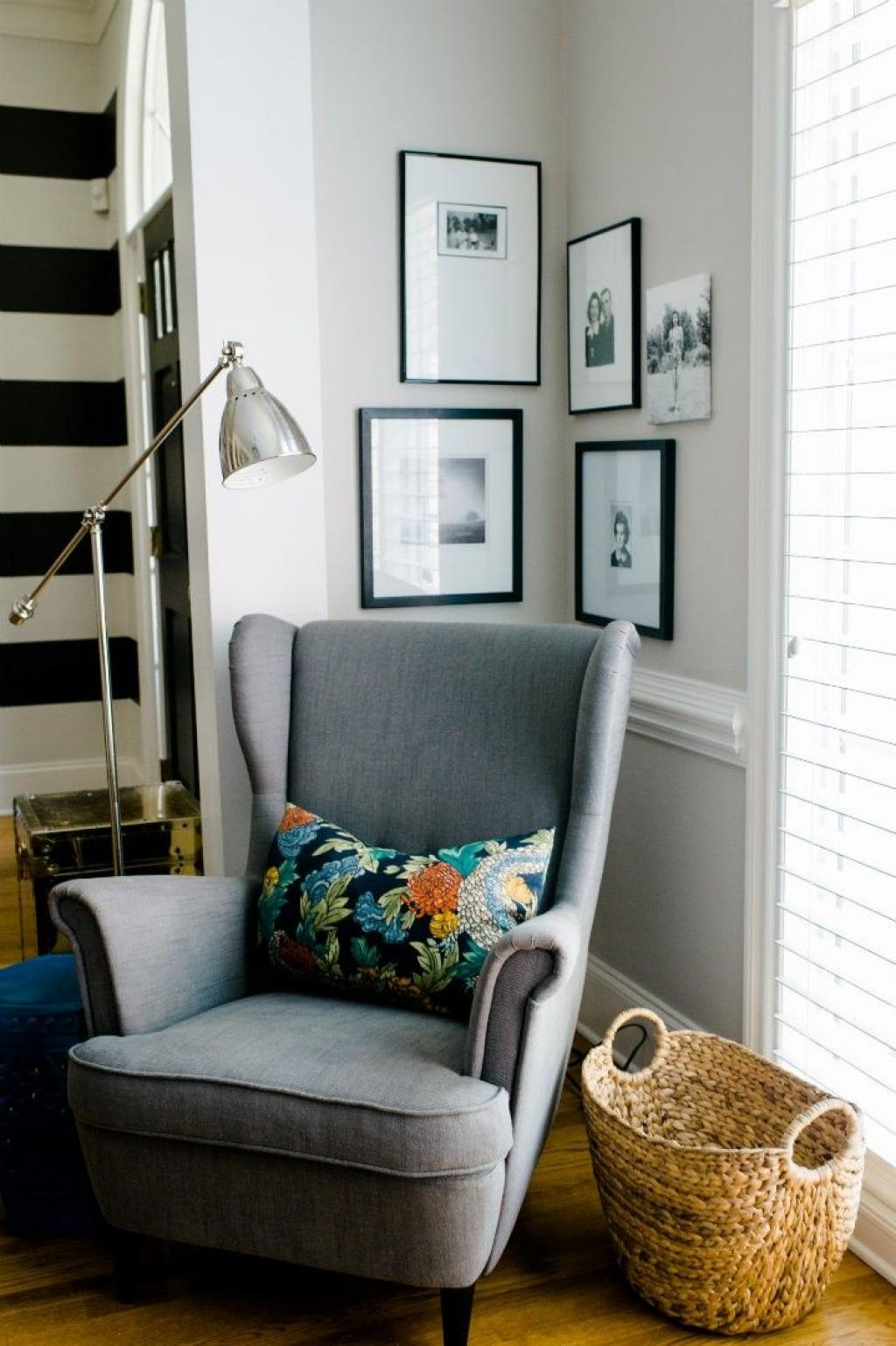 Minimalist Grey Corner Reading Wing Chair with Rattan Basket