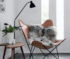 Modern Corner Reading Butterfly Chair with Small Black Floor Lamp