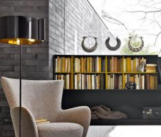 Modern Swan Reading Chair with Black Rug with Modern Copper Floor Lamp
