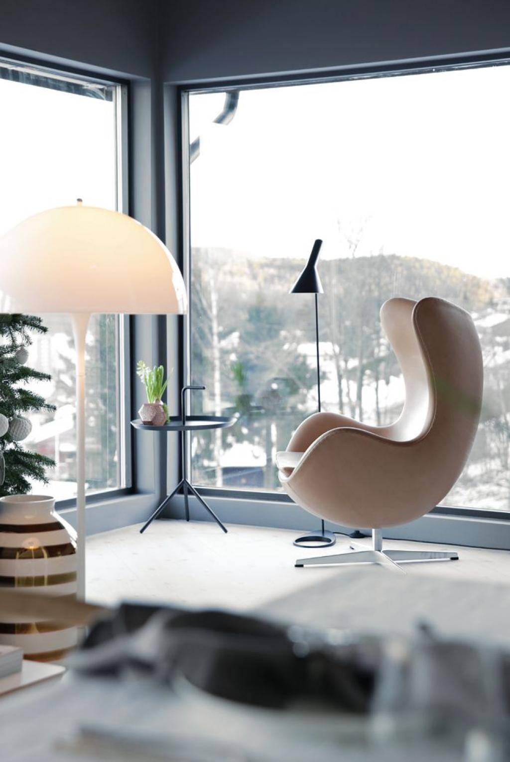 Modern Swan or Butterfly Reading Chair on apartment
