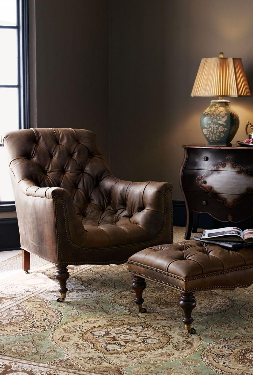 Modern Tufted Leather Reading Chair With Ottoman