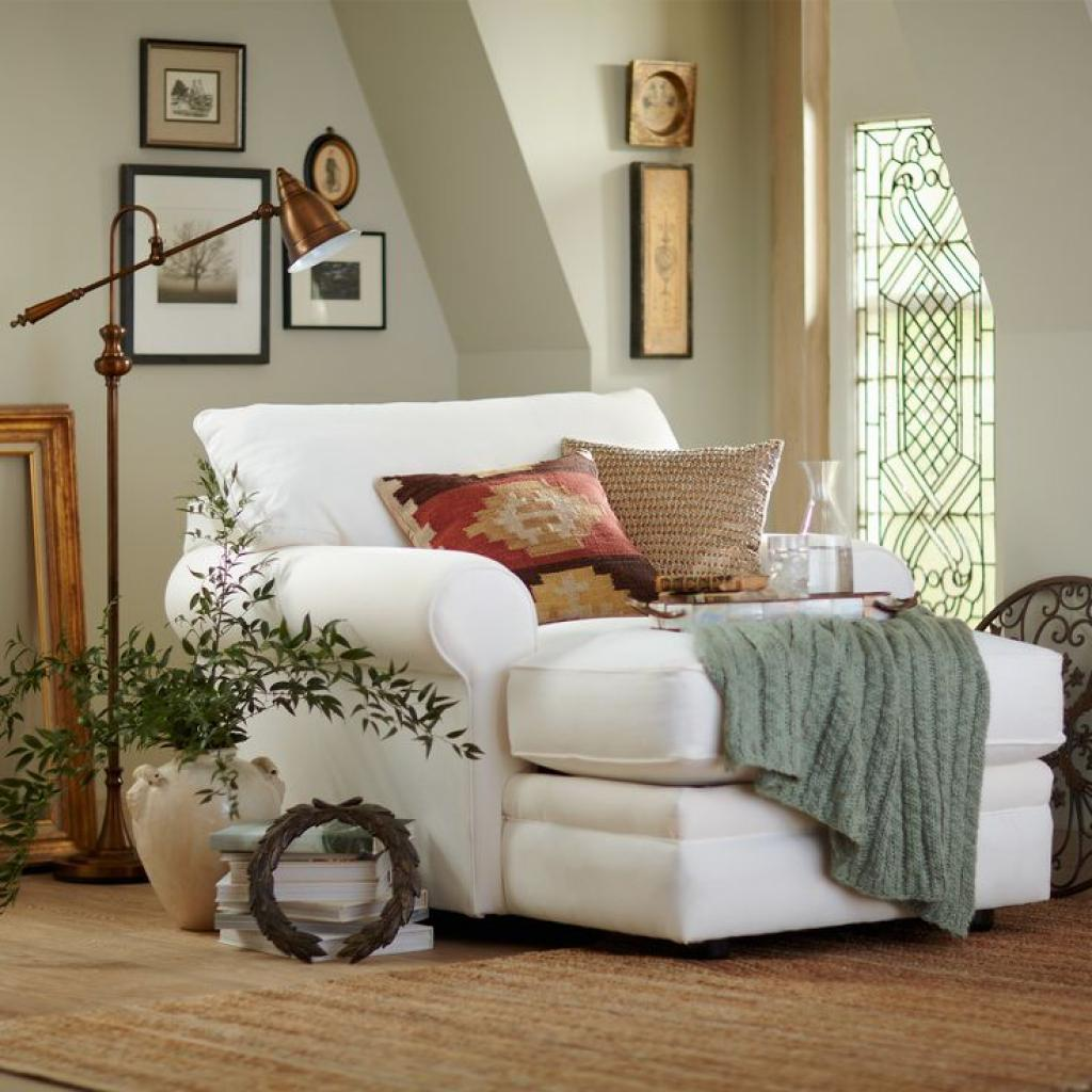 Oversize White Reading Chair Couch with Ottoman