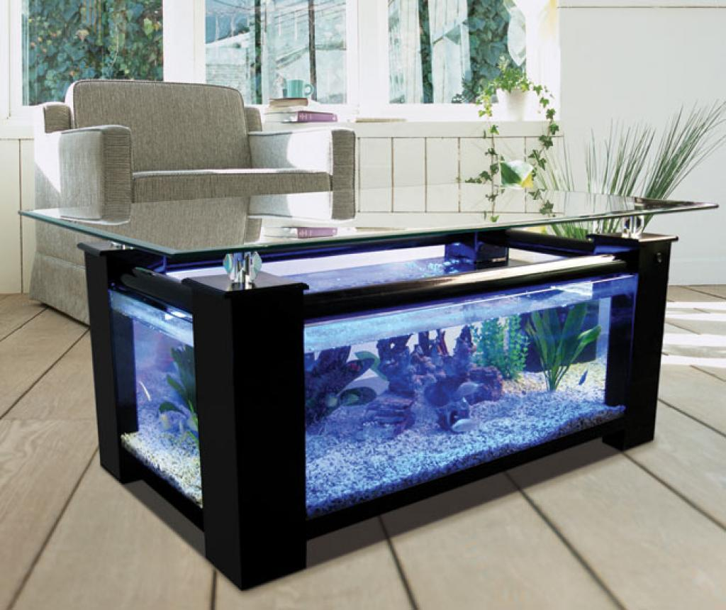 Rectangle Coffee Table Aquarium with Wooden materials
