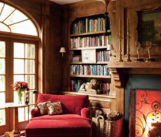 Red Corner Reading Chair with Classic Library Reading Room