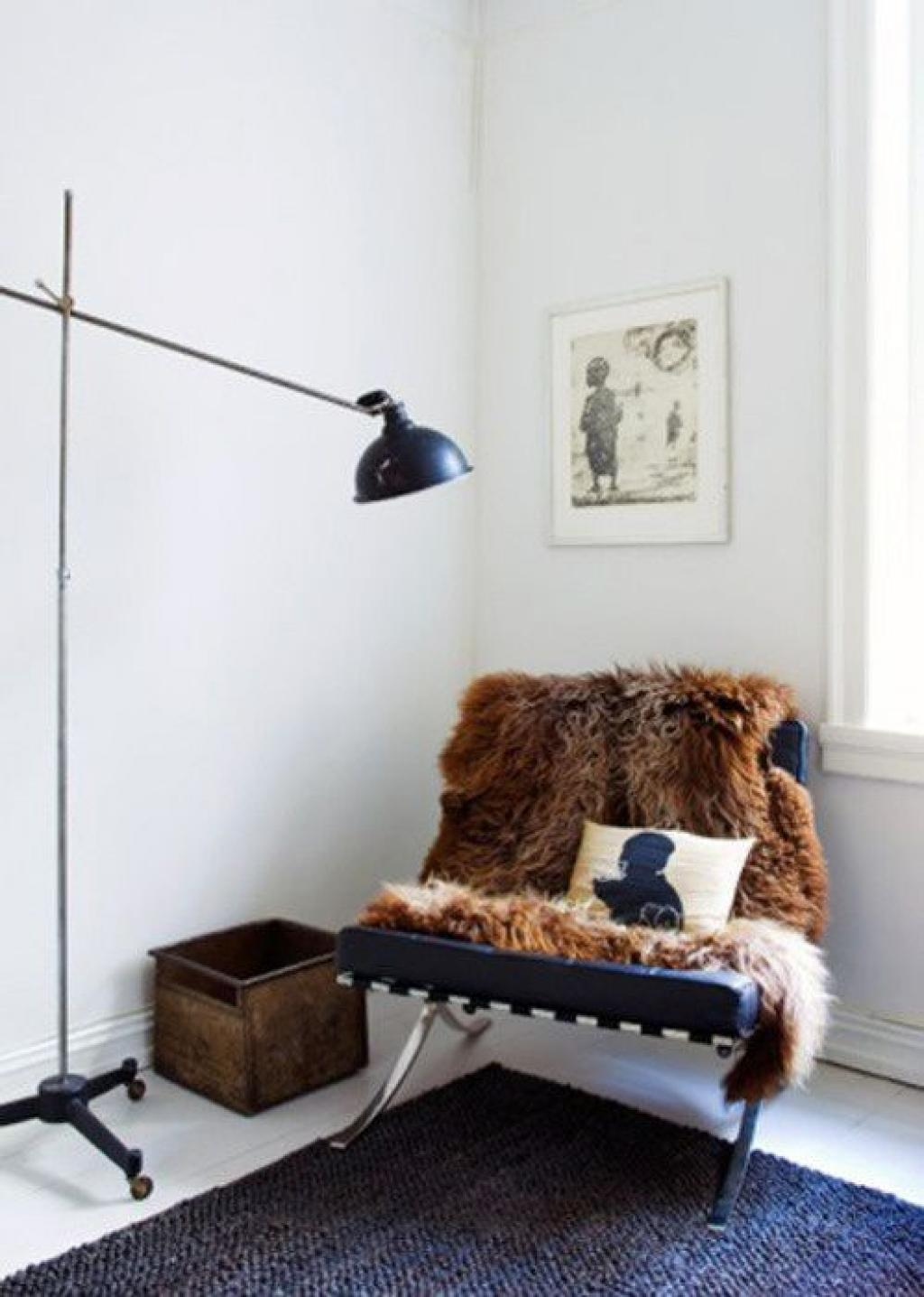 Simple Corner Reading Chair with Brown Fur Fabric