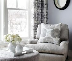 Simple Grey Corner Reading Chair with Oval Mirror and Country Curtain