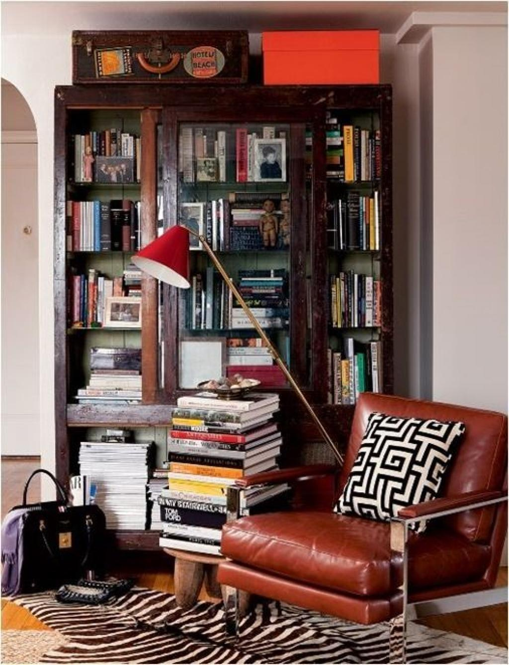 Simple Leather Corner Reading Chair Brown Colors with Small Wood Library Cabinet