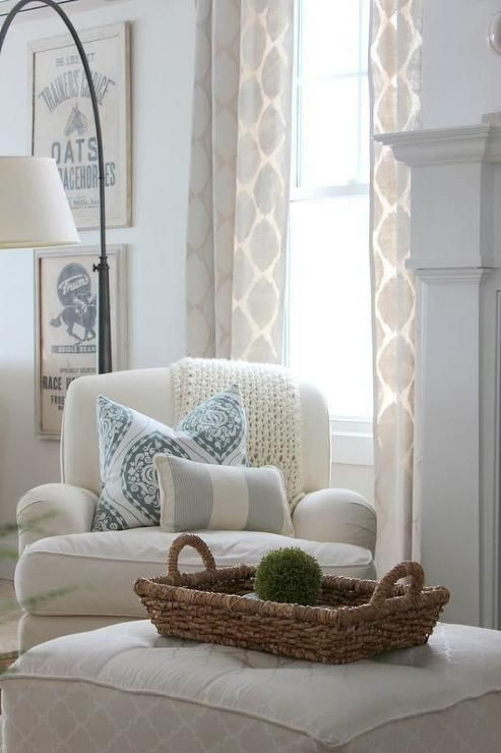 Simple White corner Reading Chair with Modern White curtain and Ottoman Chair