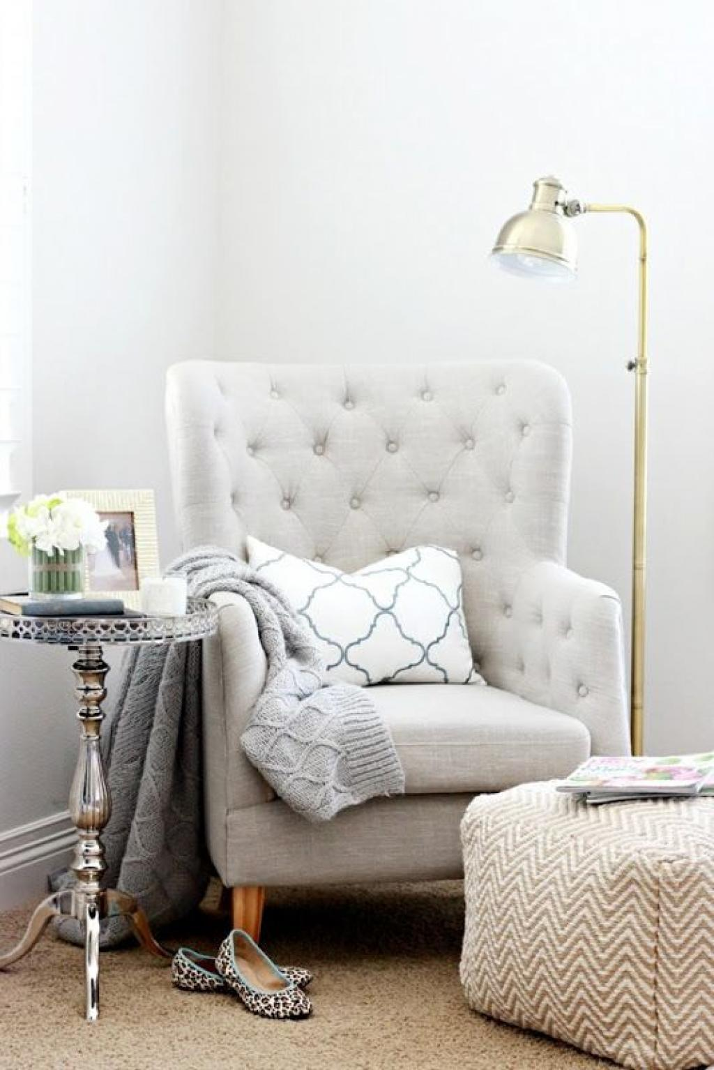 Small Light Grey Reading Chair Corner Tufted