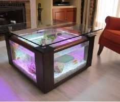 Square Coffee Table Aquarium with Puple Neon Light