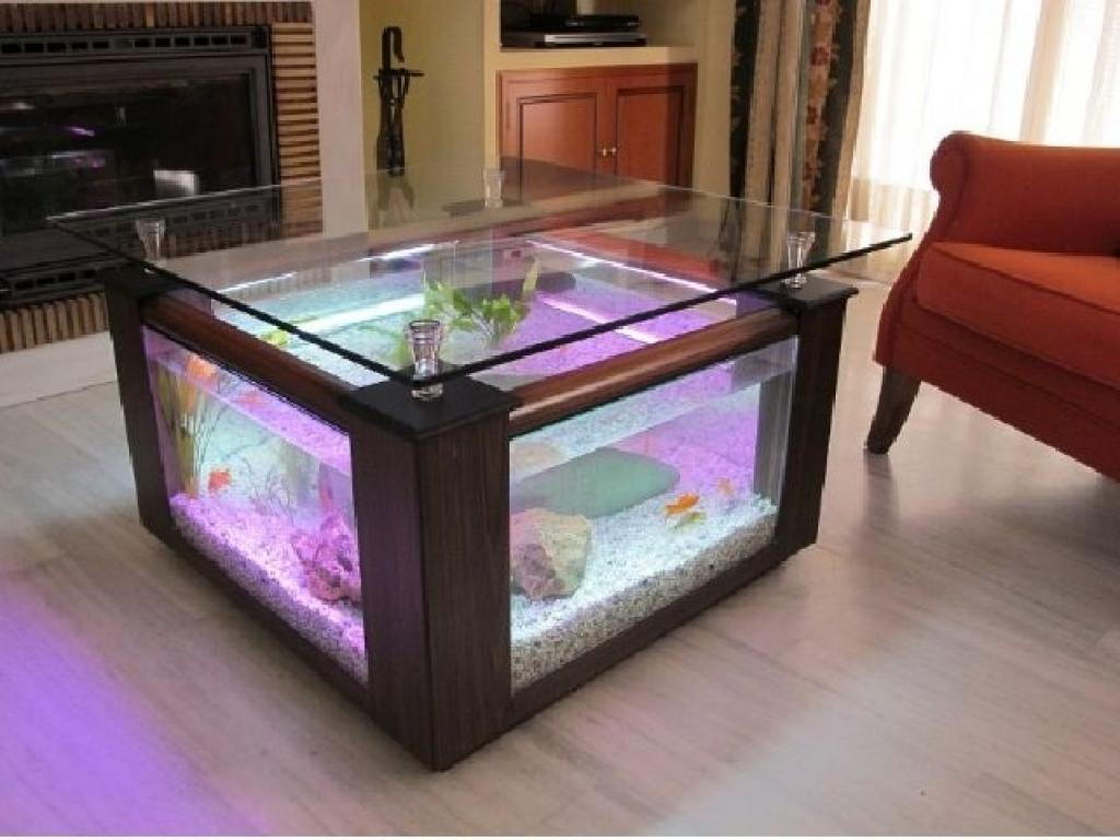 Fish tank living room table -  Square Coffee Table Aquarium With Puple Neon Light Home Inspiring
