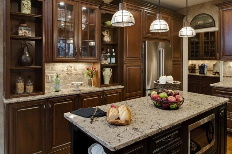 Best Cherry Wood Cabinets Quartz Countertops Pendant Lights