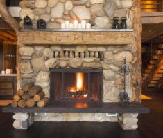 Best Concrete Hearth Stone Fireplace Surround Rustic Living Room