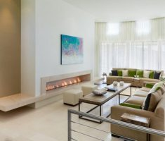 Best Extended Fireplace Hearth Beige Modern Home Interior Ideas