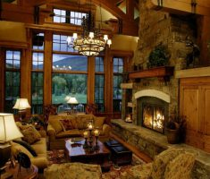 Best Extended Fireplace Hearth Stone Seating Space Rustic Living Room