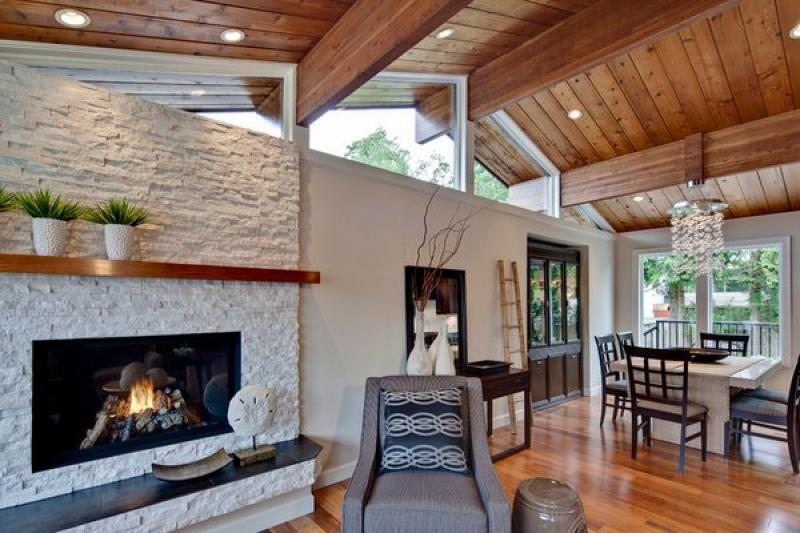 Best Fireplace Hearth Ideas Stone Surround Contemporary Living Room Interior