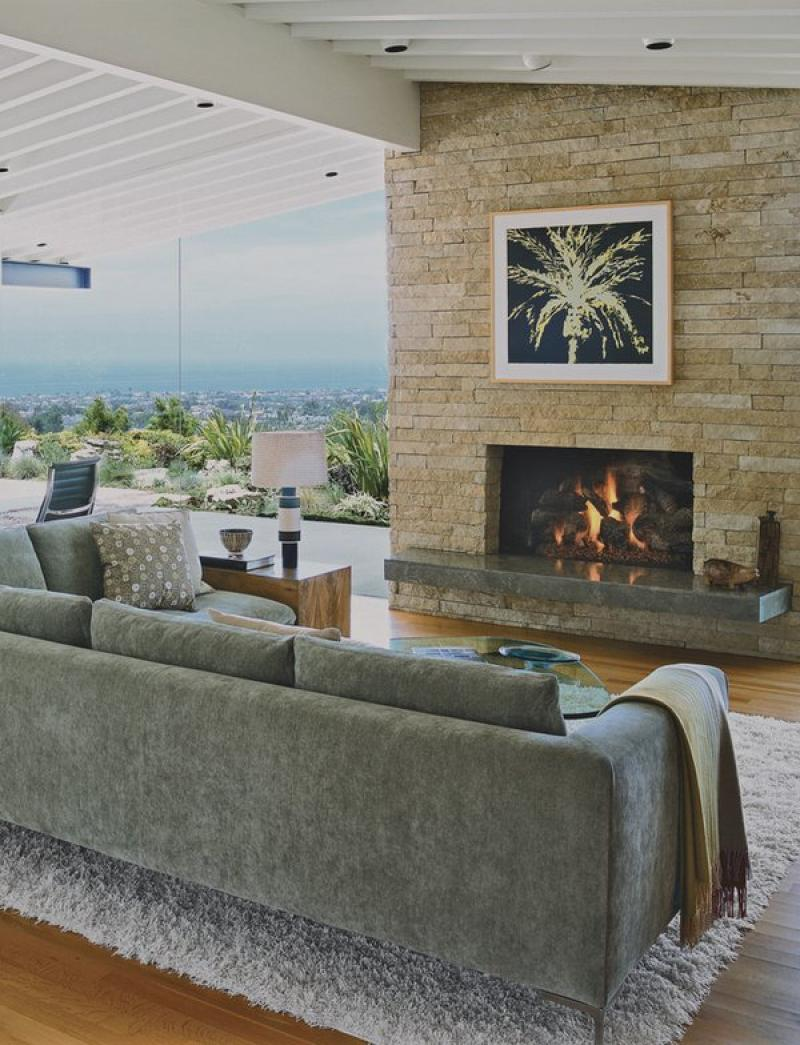 Best Living Room Cantilevered Concrete Fireplace Heart Stone Surround