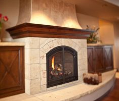 Best Neutral Color Stone Fireplace Hearth And Surround Wood Mantel Glass Doors