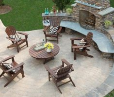 Best Patio Stone Fireplace Seating Hearth Wooden Outdoor Furniture