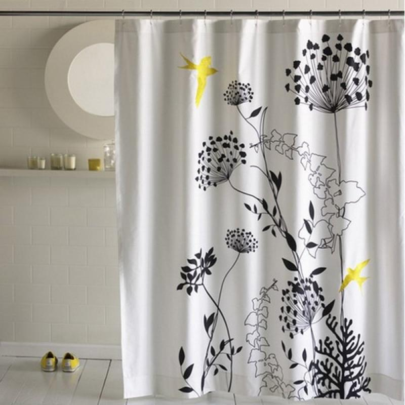 best stylish designer shower curtains ideas floral motifs birds small bathroom design - Designer Shower Curtain Ideas