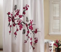 Designer Shower Curtain Ideas i love this shower curtain idea with the valance and the curtains going up to the ceiling just get one more shower curtain rod and make or buy a simple Best Stylish Tree Blossom Designer Shower Curtains Bathroom Decorating Ideas