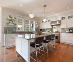 Best White Kitchen Cabinets Quartz Countertop Color Gray Wood Flooring
