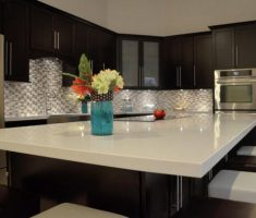 Best White Quartz Countertops Dark Kitchen Cabinets Modern Contrast