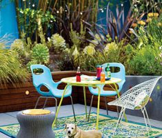 Best Colorful Small Patio Design Ideas With Blue Retro Chairs