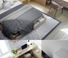 Fashionable And Stylish Interior With Minimalist Decorations Bedroom With Drawer And Storage Ideas