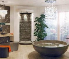 bathroom-decoration-design-with-unique-chandeliers-above-rounded-tube