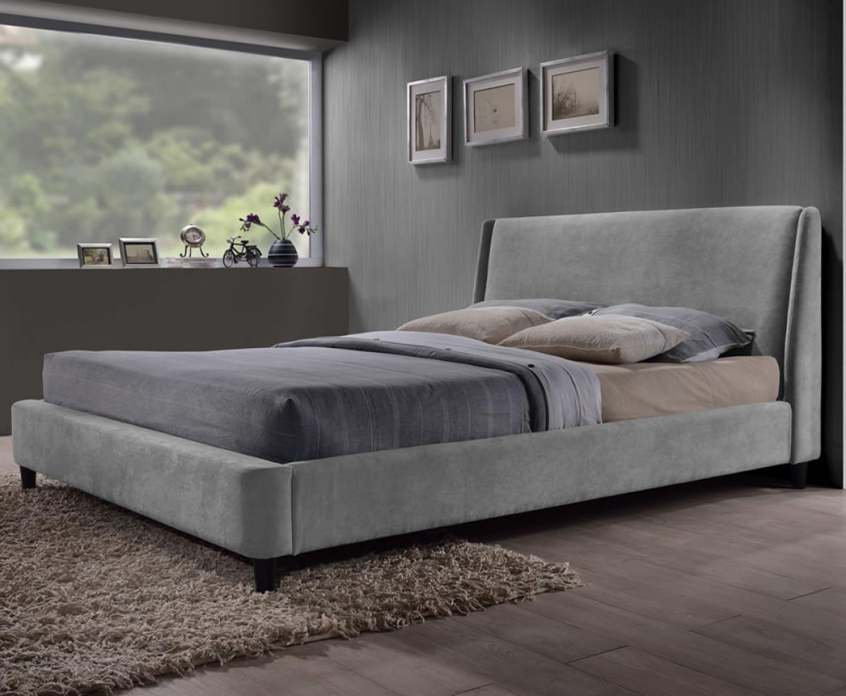 comfortable-grey-small-double-bed-for-small-bedroom-with-velvet-material