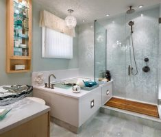 enchanting-bathroom-decoration-ideas-with-chandelier-and-small-tiles-wall-pattern