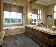 fascinating-bathroom-decoration-ideas-with-brown-theme-and-big-mirror