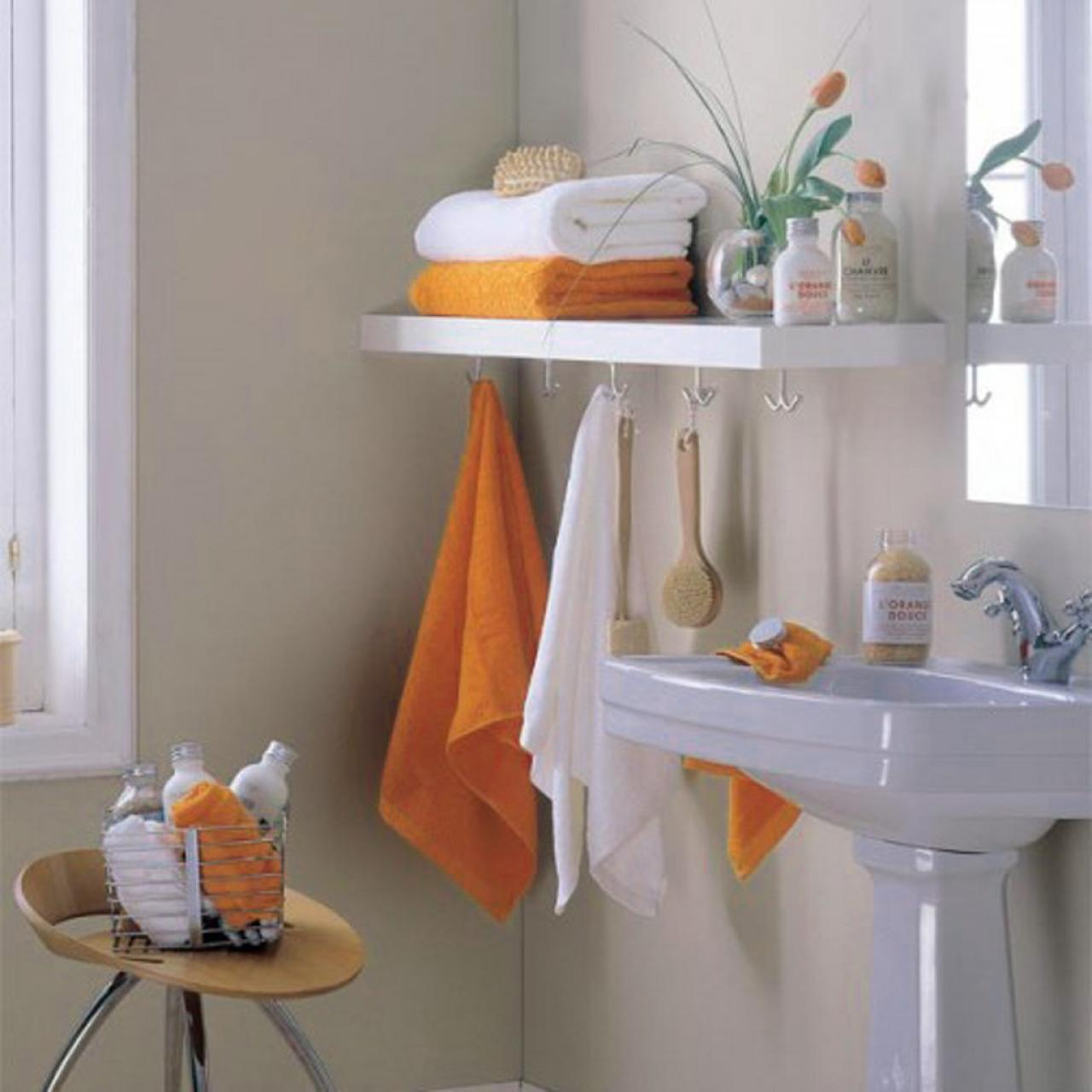Small Storage Bathroom with Hanging Racks