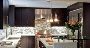 small-u-shaped-kitchen-ideas-with-stylish-chandeliers