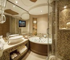 luxurious-big-bathroom-decoration-with-tv-and-plaid-tiles-wall