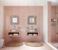 pinky-bathroom-decoration-ideas-with-twin-mirror-and-sink
