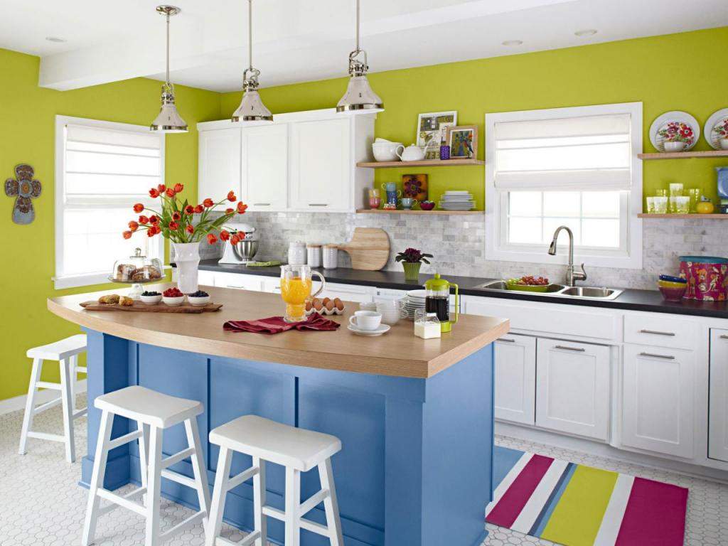 cheerful-modern-small-kitchen-with-island-white-green-lime-and-blue-theme-colors