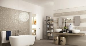 modern-beige-bathroom-tiles-with-unique-round-glass-chandelier