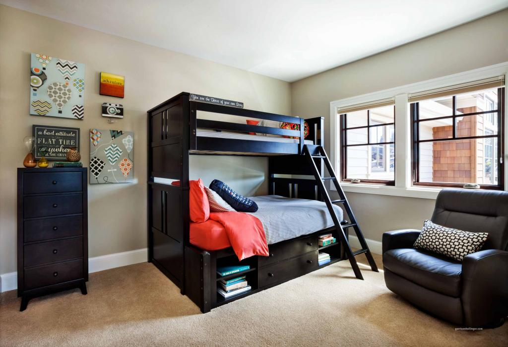cool-glossy-black-boy-room-ideas-with-bunk-beds-with-storage-for-saving-space