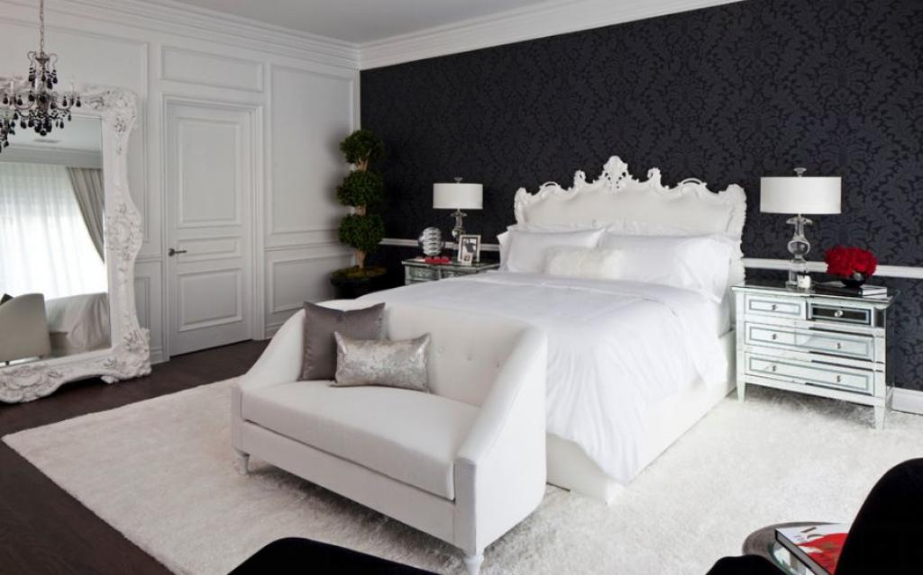 enchanting-black-and-white-bedroom-theme-with-white-rug-and-black-floral-wallpaper